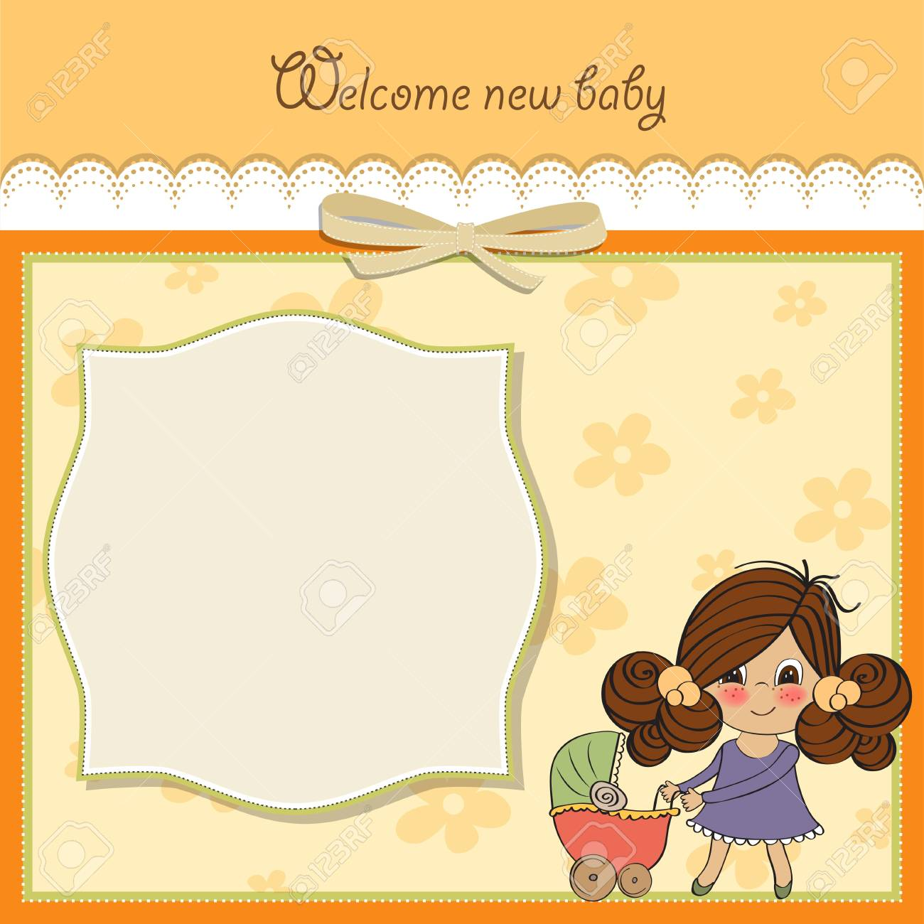 Young lady and pram Stock Vector - 14285787