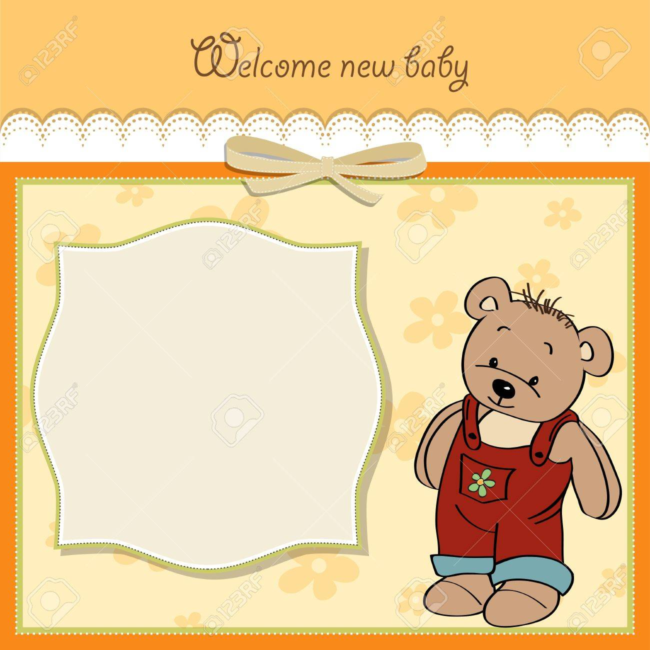 baby shower card with teddy Stock Vector - 14285704