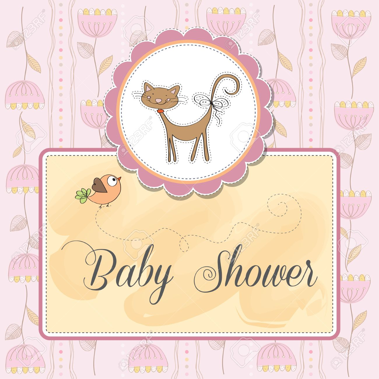 new baby shower card with cat Stock Vector - 14334053