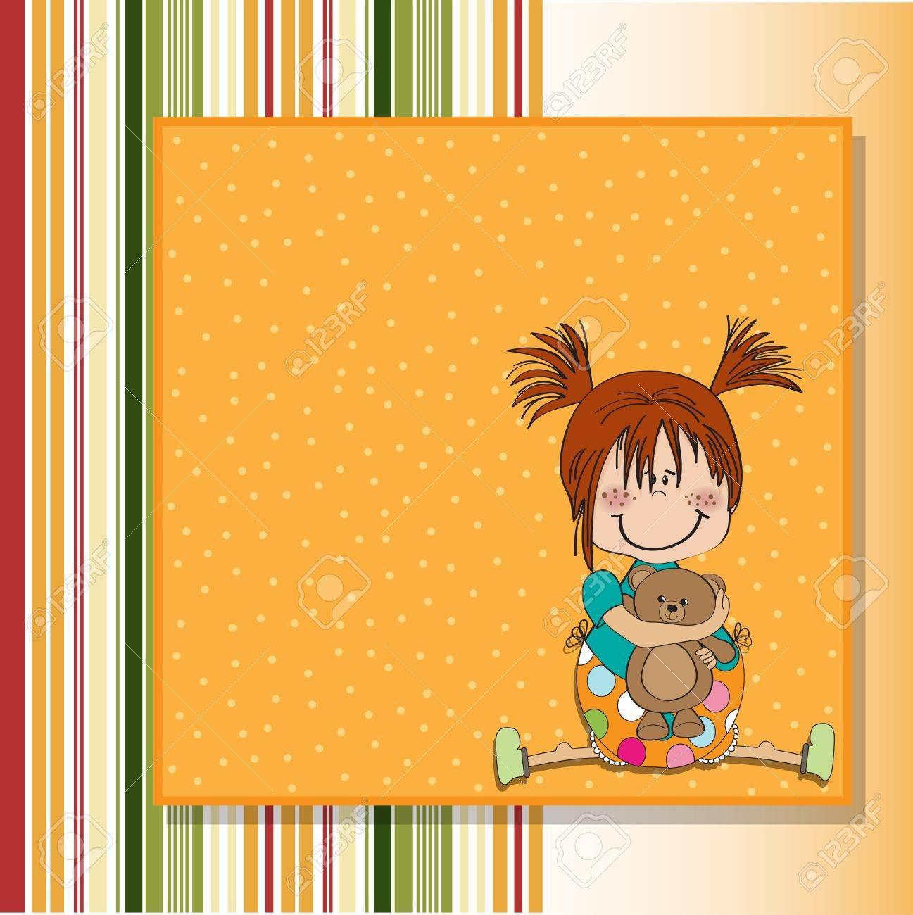 little girl sitting with her teddy bear Stock Vector - 14491246