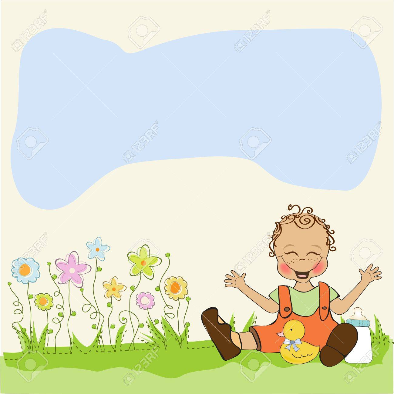 baby boy playing with his duck toy, welcome baby card Stock Vector - 14662020