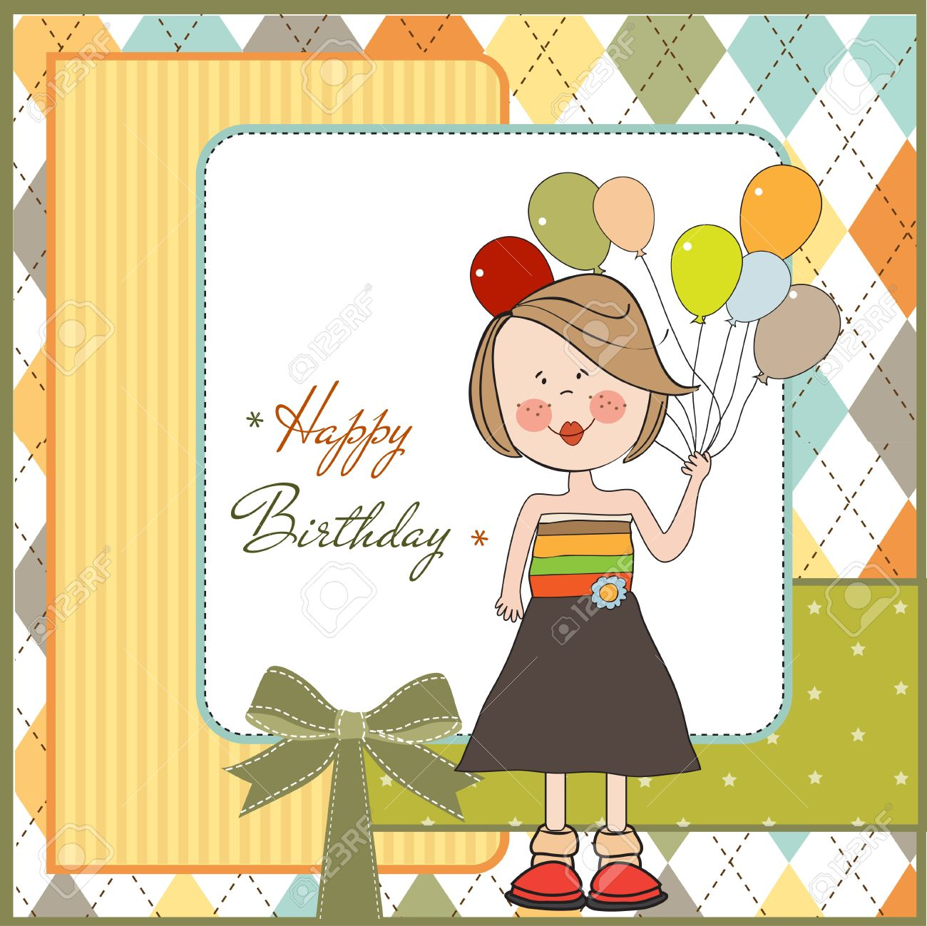 Happy Birthday Card With Funny Girl Royalty Free Cliparts Vectors – Birthday Cards Girls