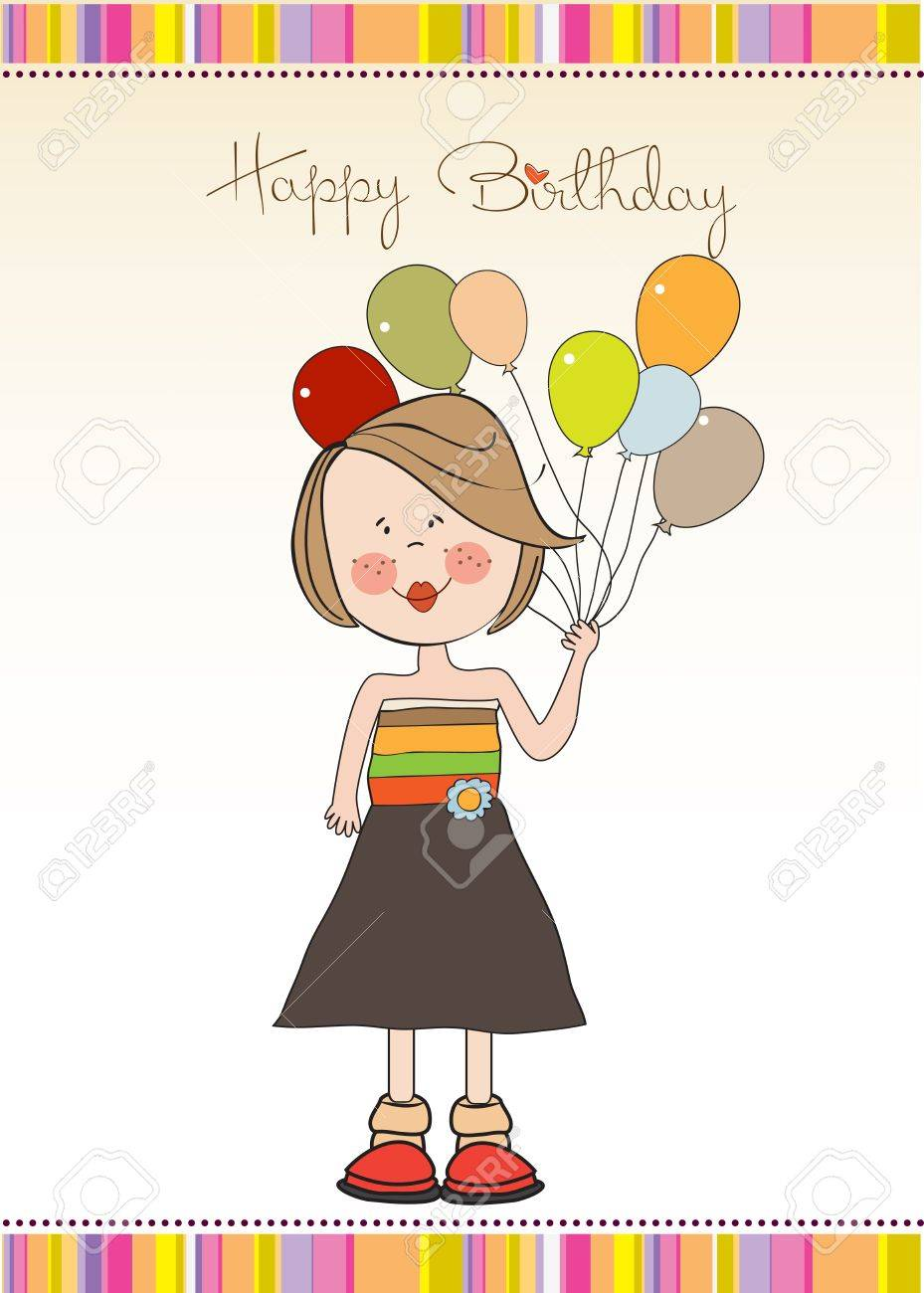 Funny Girl With Balloon Birthday Greeting Card Royalty Free