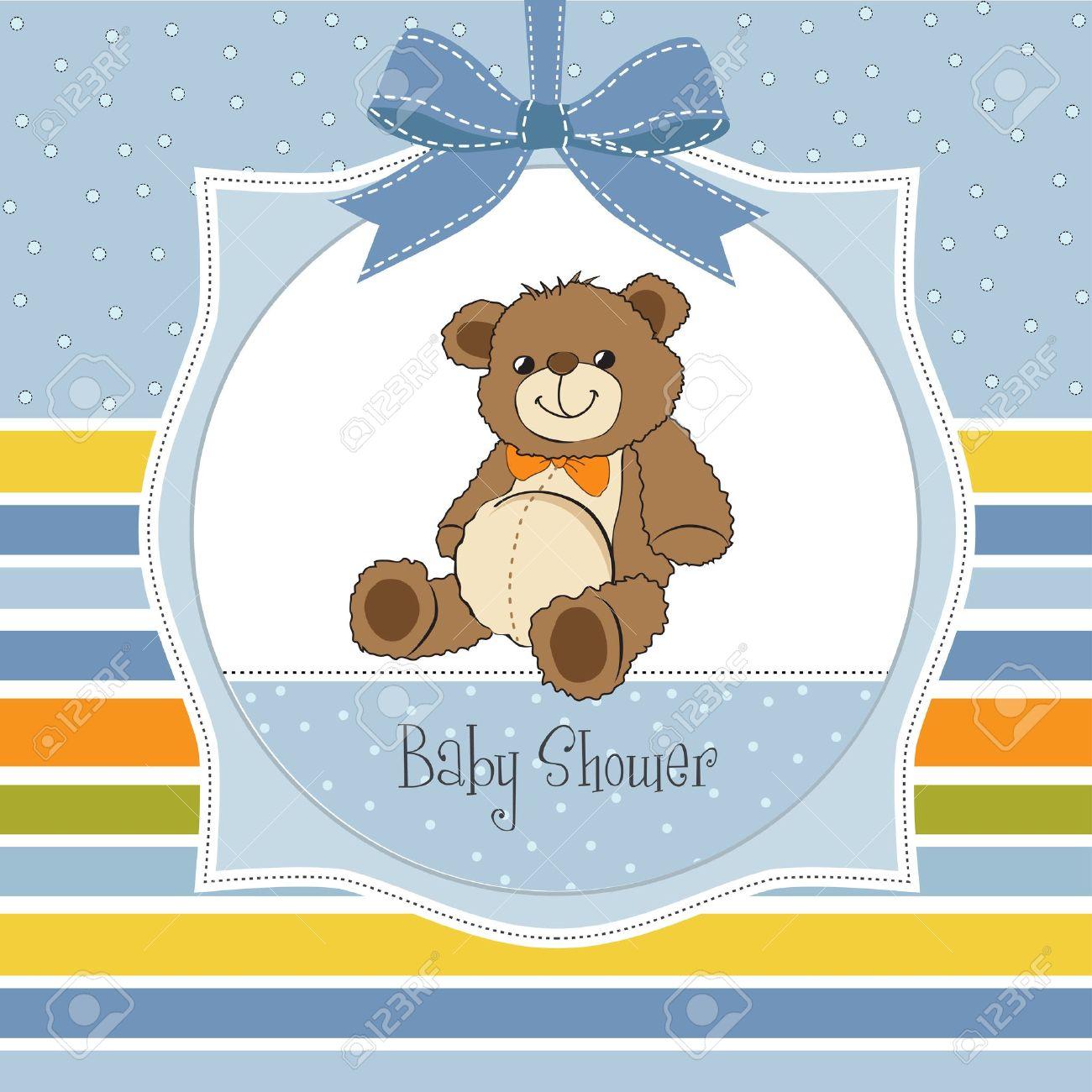 baby shower card with cute teddy bear toy Stock Vector - 14662014