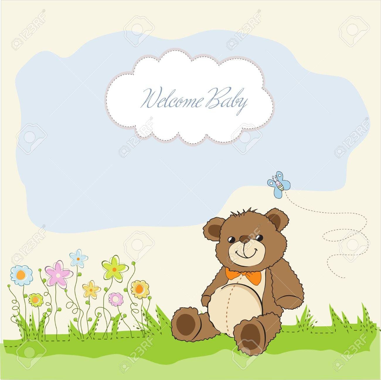 baby shower card with cute teddy bear toy Stock Vector - 14662009