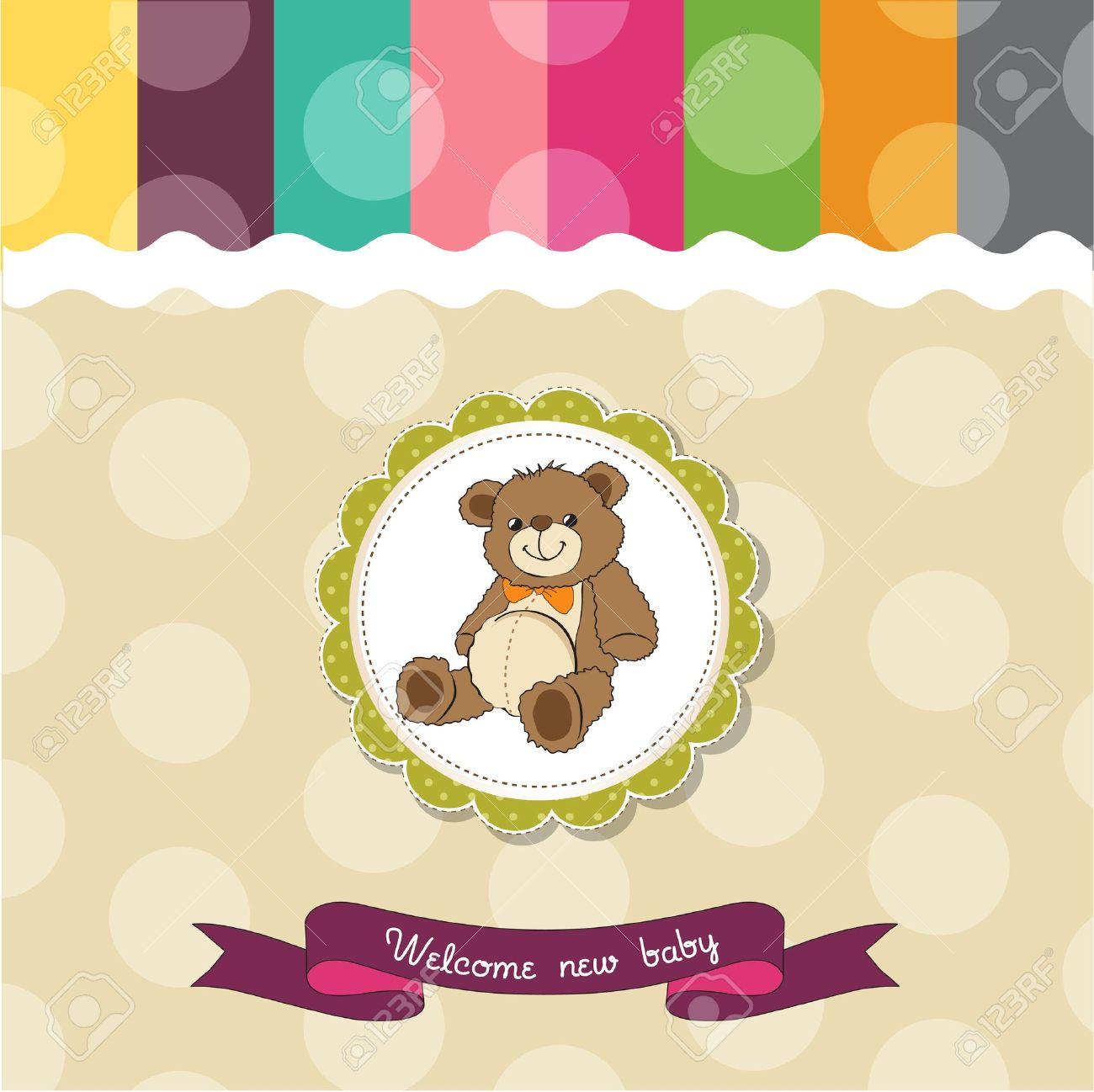 baby shower card with cute teddy bear toy Stock Vector - 14662005