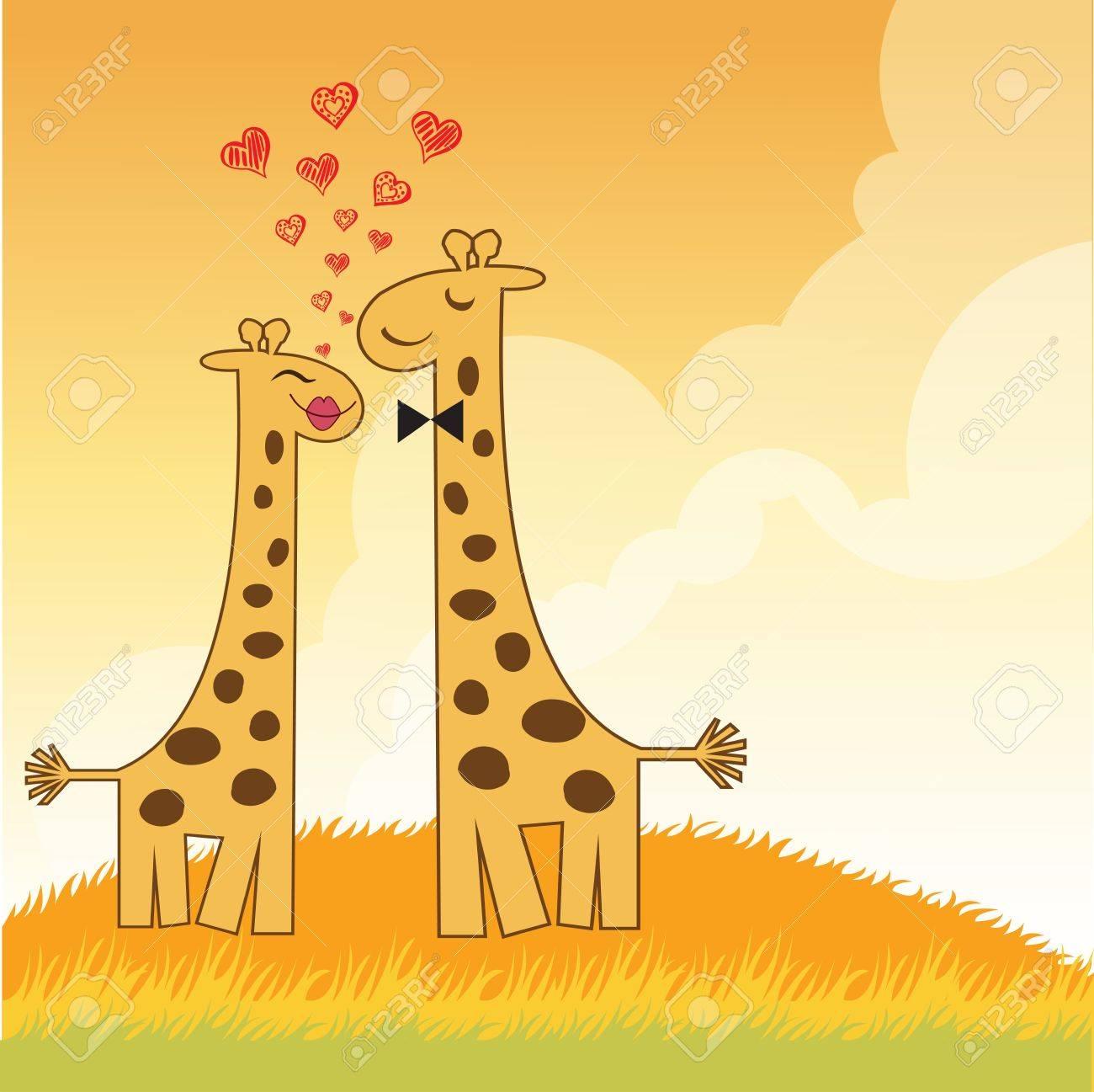 Funny giraffe couple in love Stock Vector - 14771060