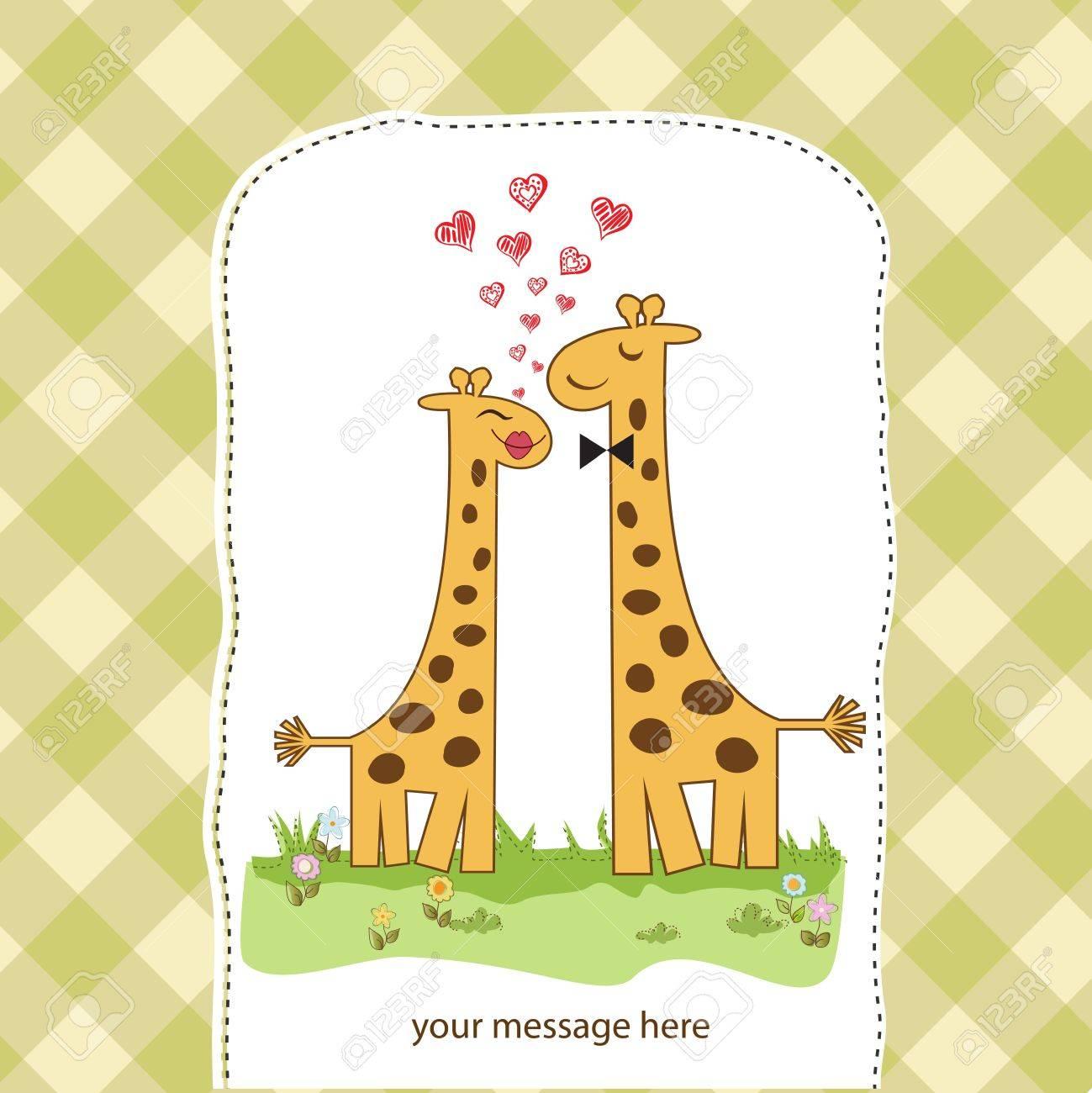 Funny giraffe couple in love Stock Vector - 14771056