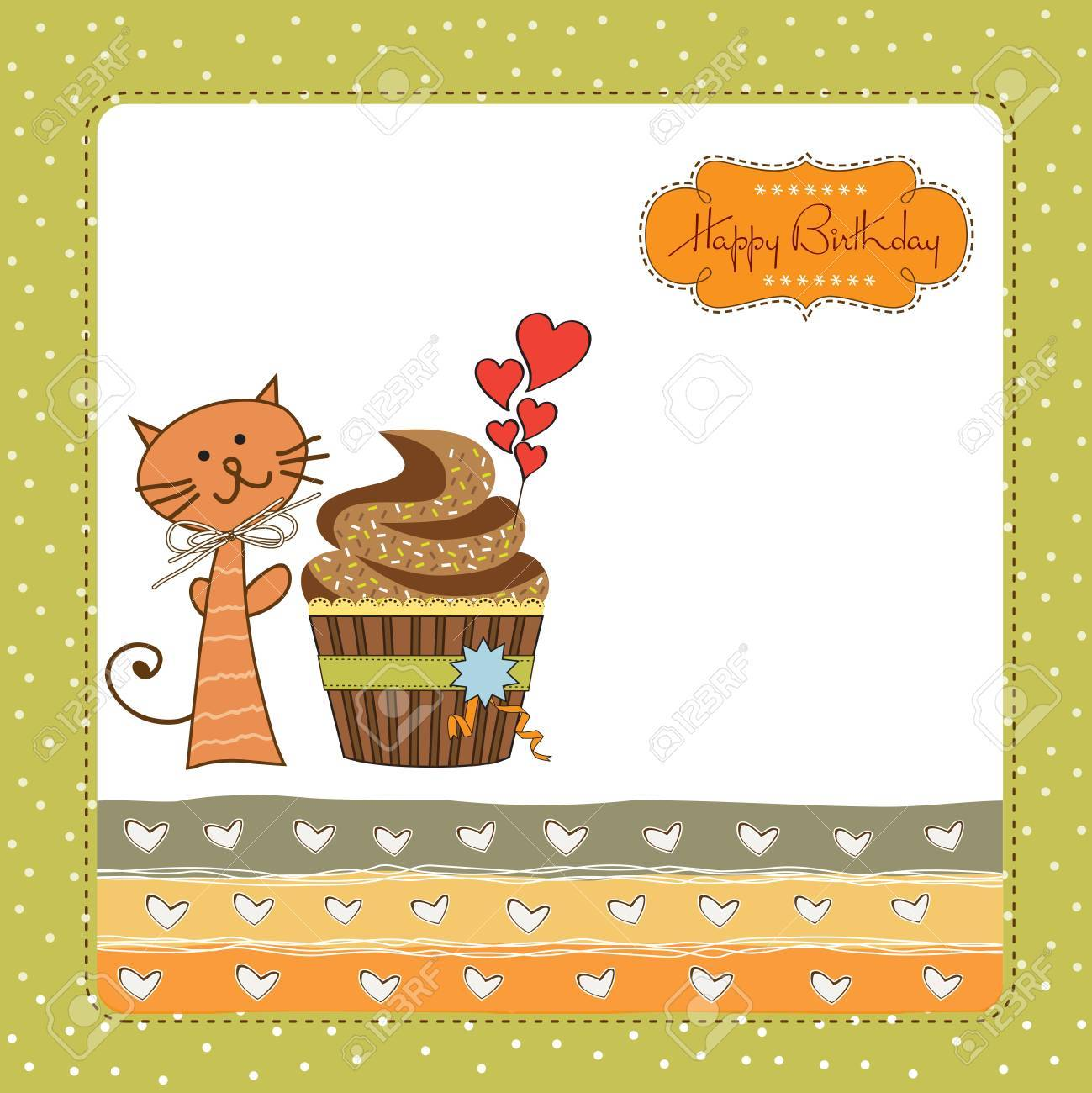 Birthday Greeting Card With Cupcake And Cat Royalty Free Cliparts