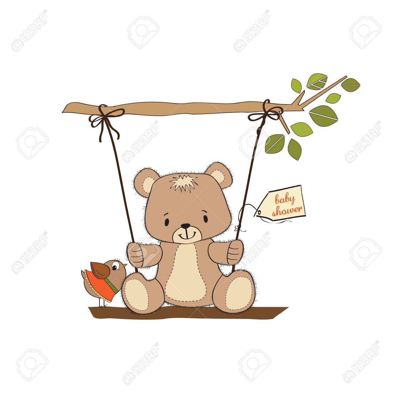 baby shower card with teddy bear in a swing Stock Vector - 15095169
