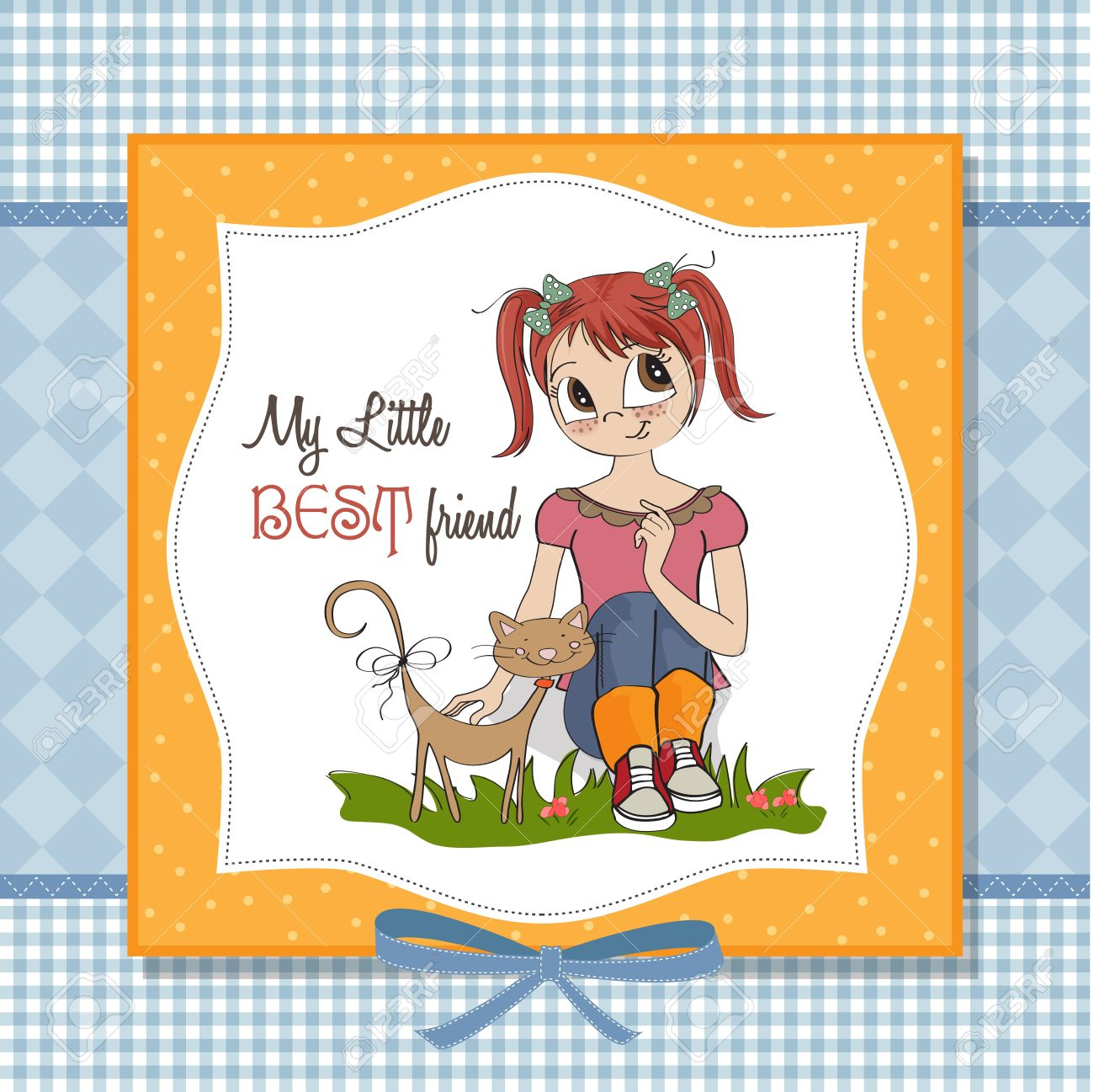 little girl and her cat are best friends Stock Vector - 15710057