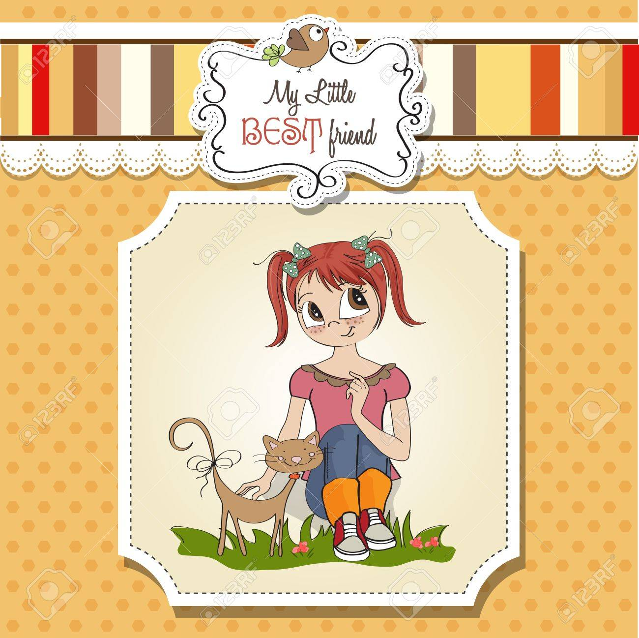 little girl and her cat are best friends Stock Vector - 15710058