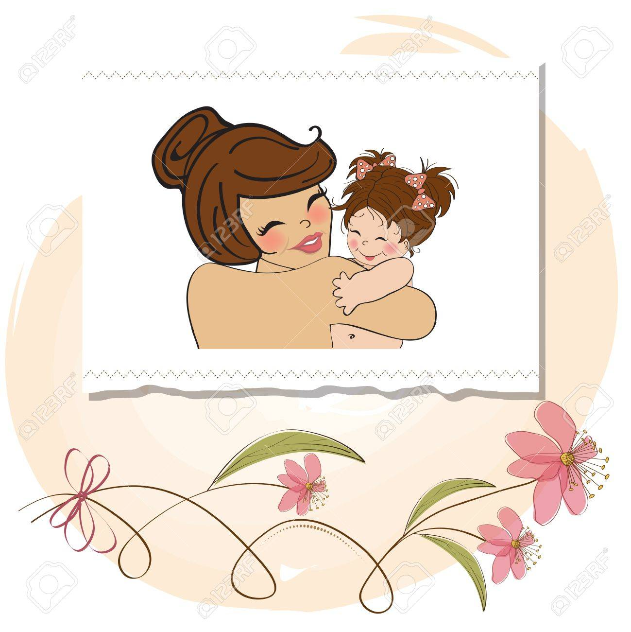 pretty young mother holding a new baby girl Stock Vector - 15806868