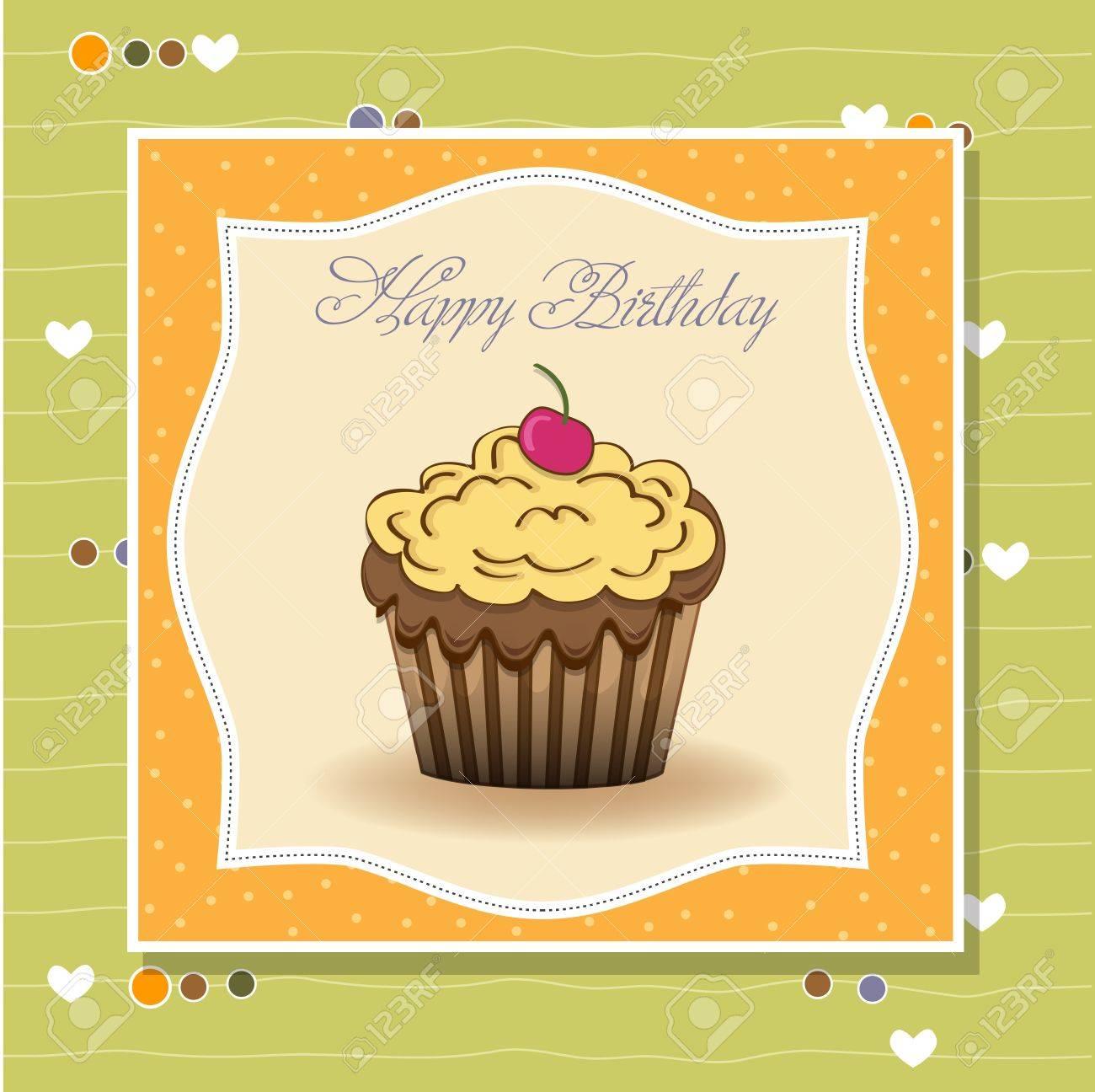 Cute Happy Birthday Card With Cupcake Vector Illustration Royalty – Cupcake Birthday Card