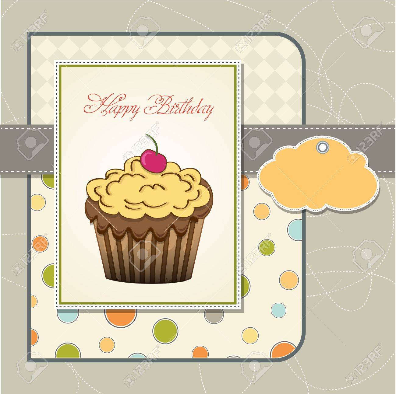 cute happy birthday card with cupcake  vector illustration Stock Vector - 16015943
