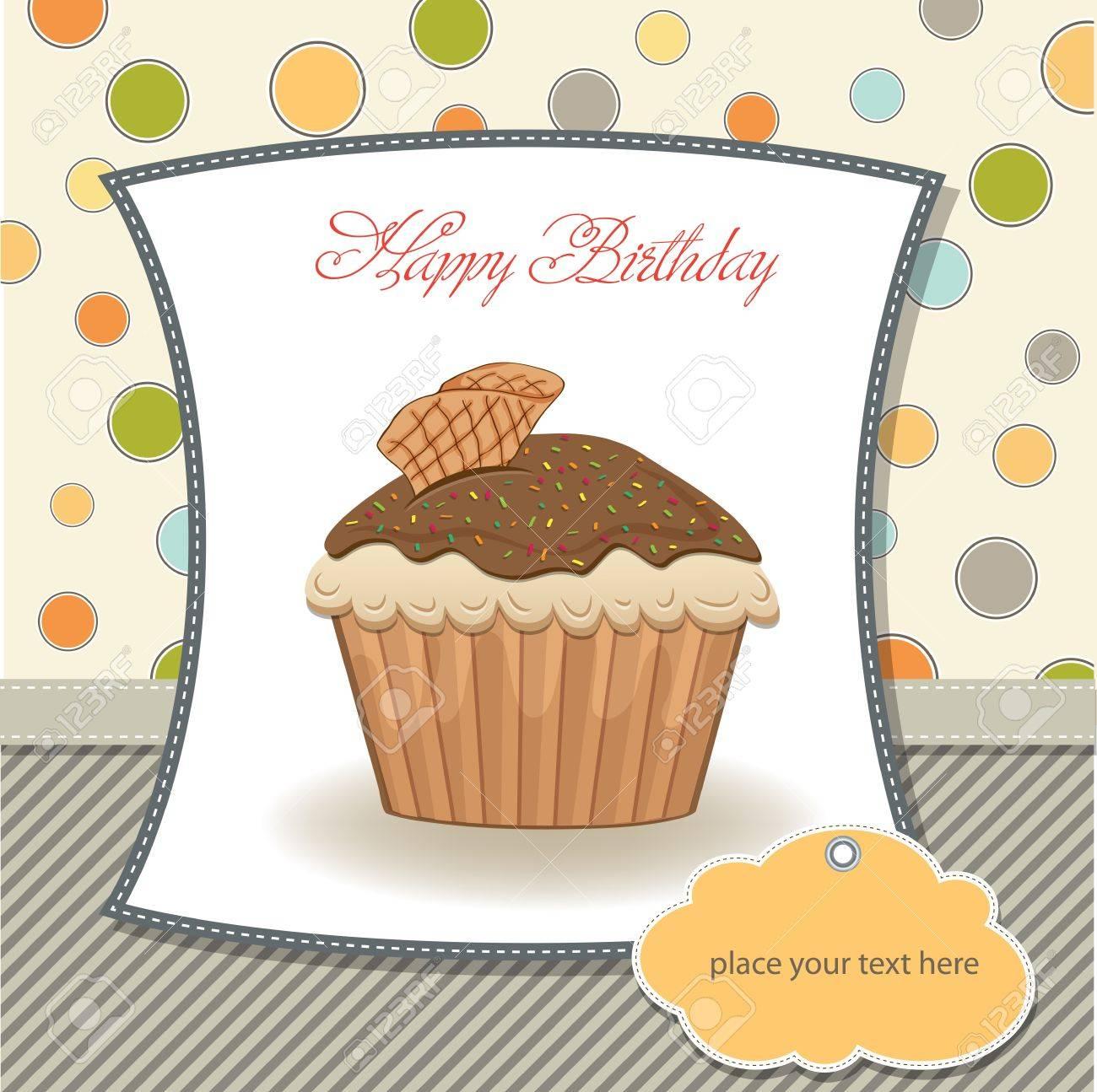 カップケーキ ベクトル イラストかわいい誕生日カードのイラスト素材