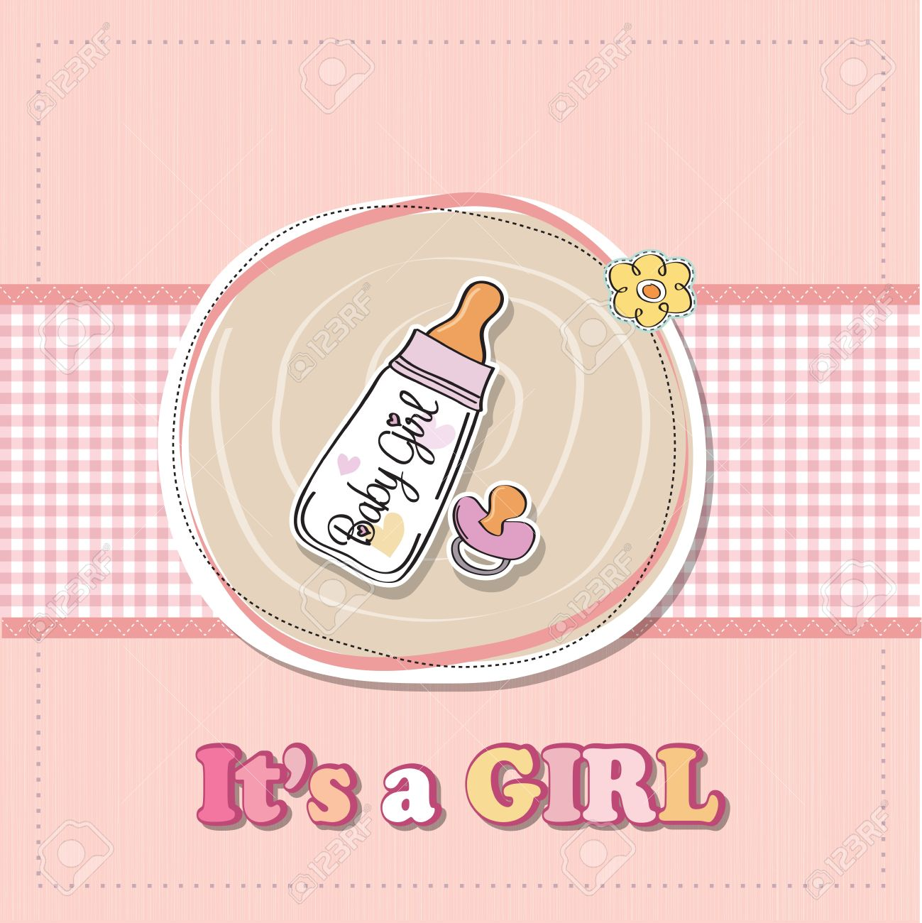 New Baby Girl Announcement Card With Milk Bottle And Pacifier ...