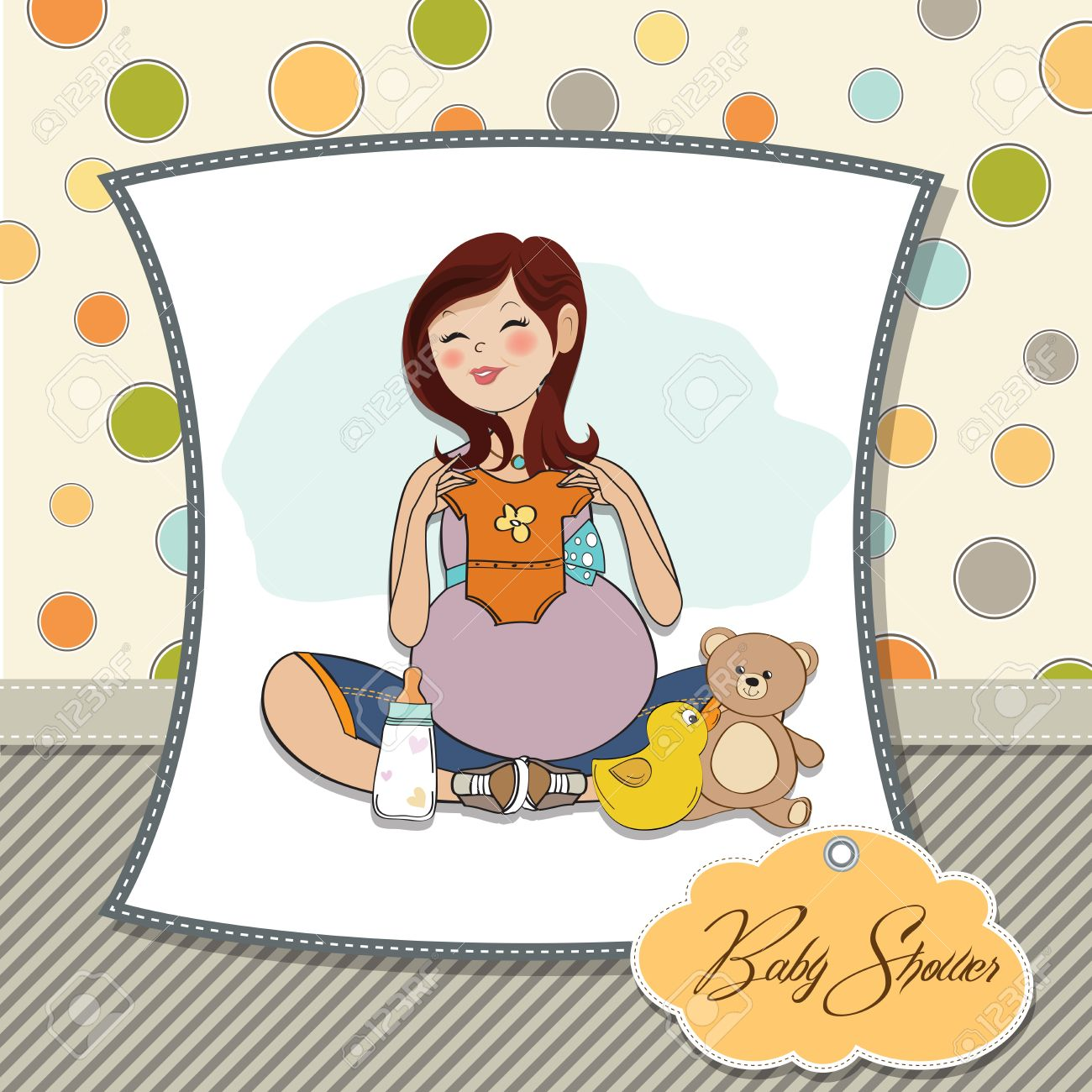 Happy Pregnant Woman, Baby Shower Card Stock Vector   17127319