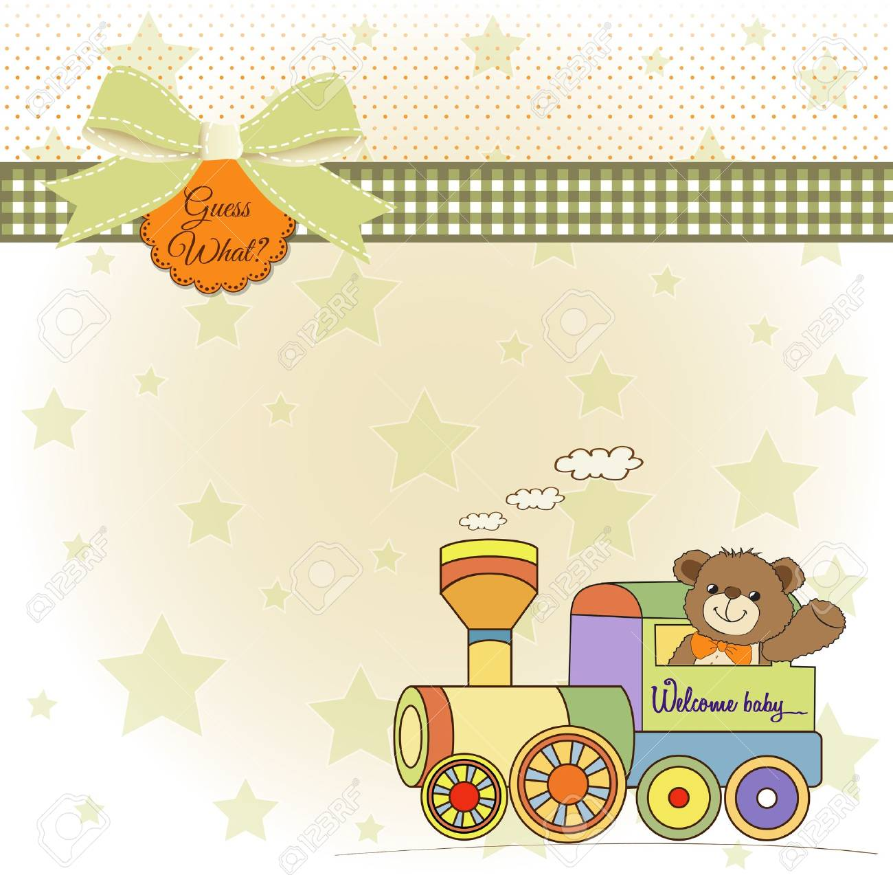 baby shower card with teddy bear and train toy Stock Vector - 17671449