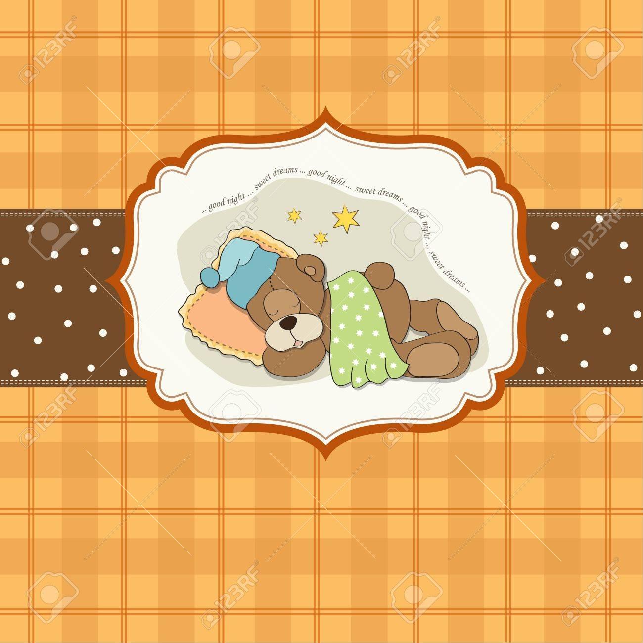 cute Teddy Bear sleeps on pillow Stock Vector - 17671397