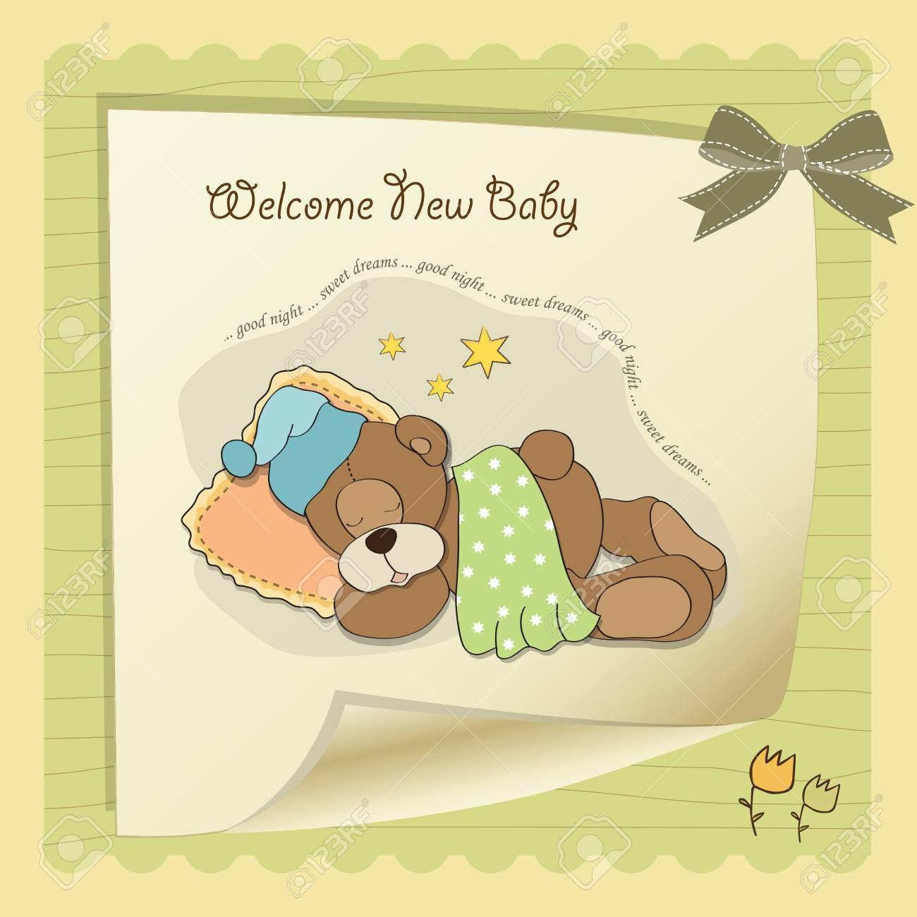 baby shower card with sleeping teddy bear Stock Vector - 17671448