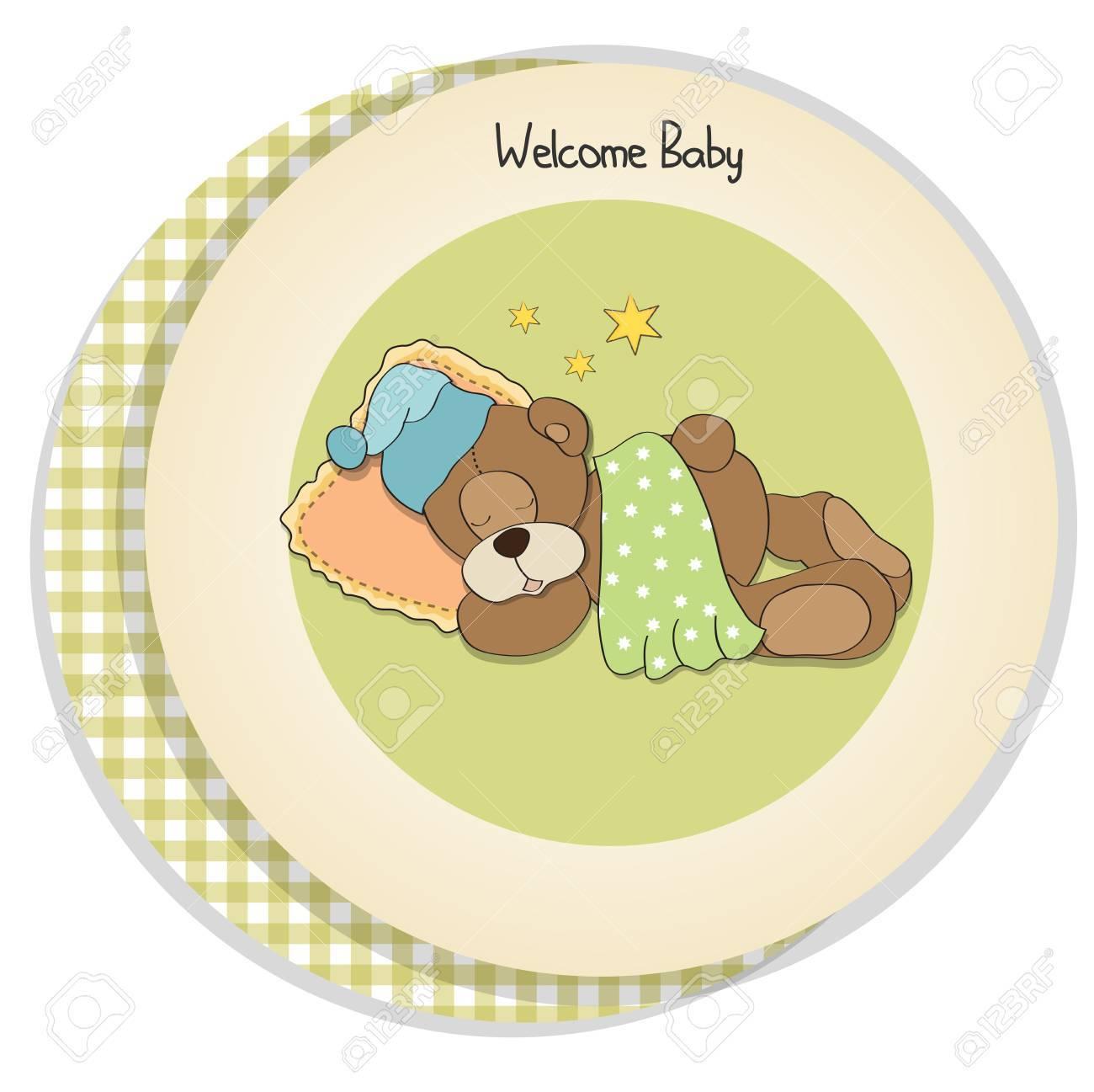 baby shower card with sleeping teddy bear Stock Vector - 17671322