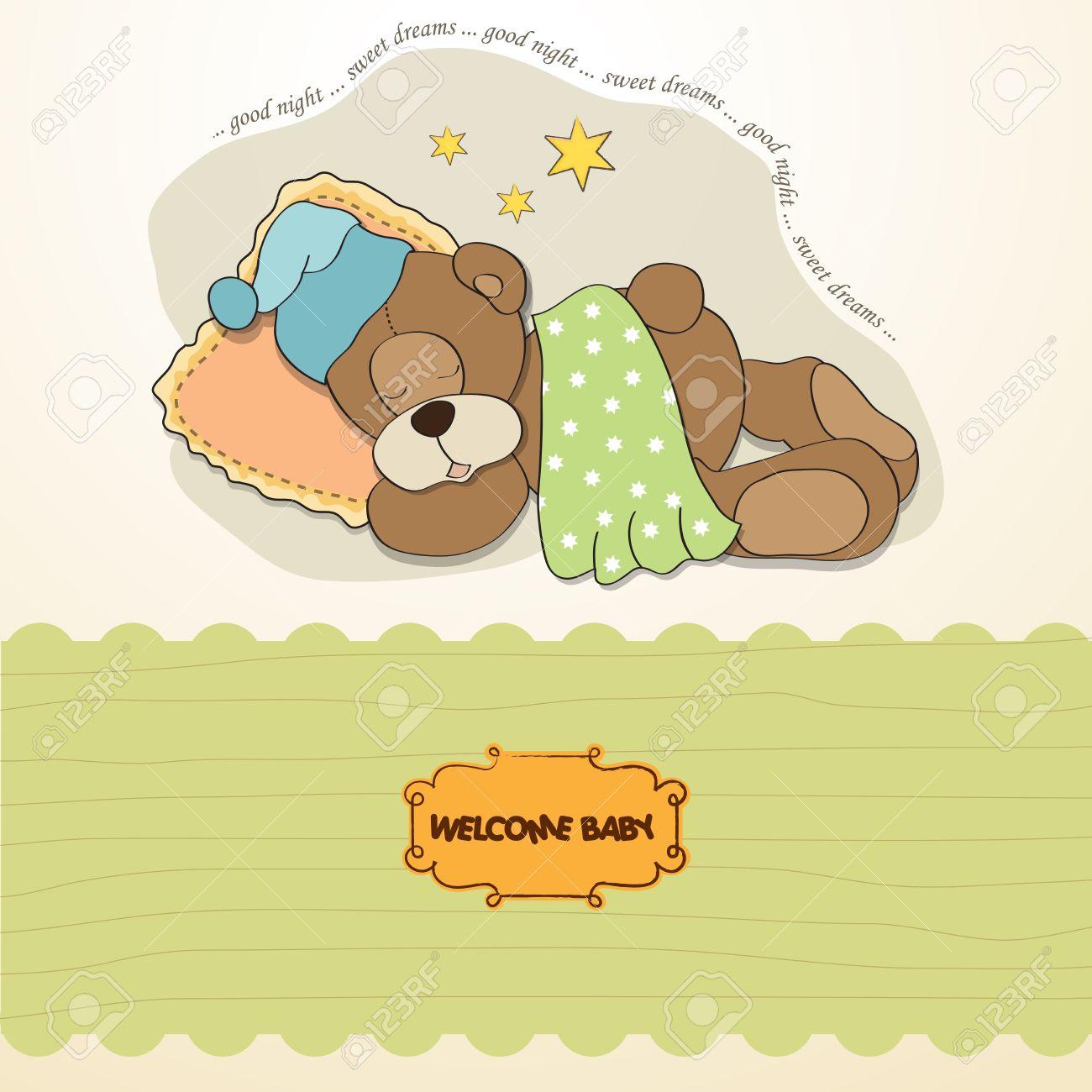 baby shower card with sleeping teddy bear Stock Vector - 17671273