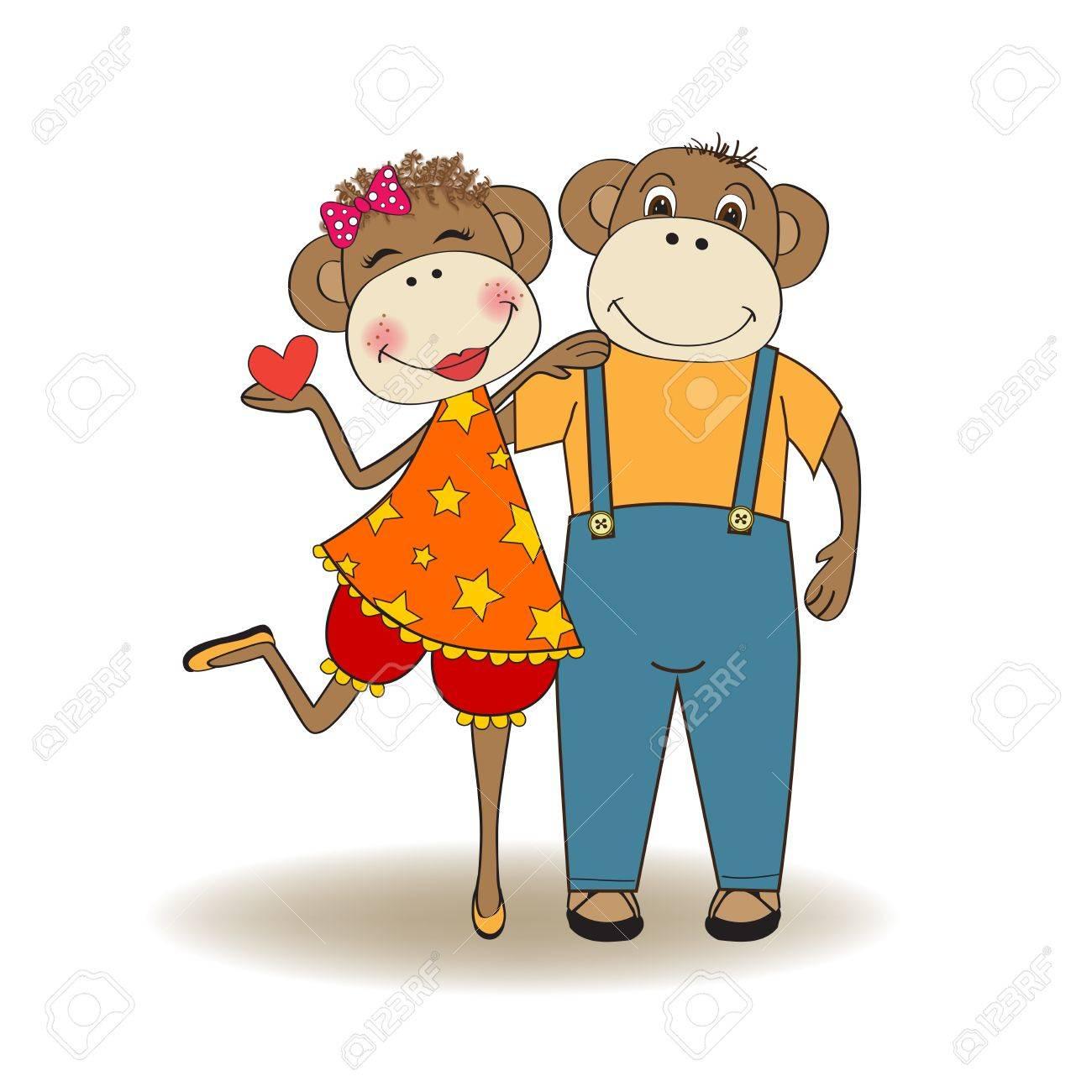monkeys couple in love, Valentine's day card Stock Vector - 17671617