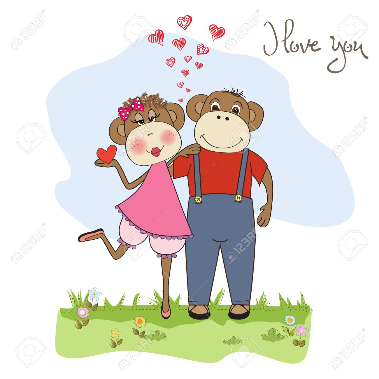 monkeys couple in love, Valentine's day card Stock Vector - 17671584