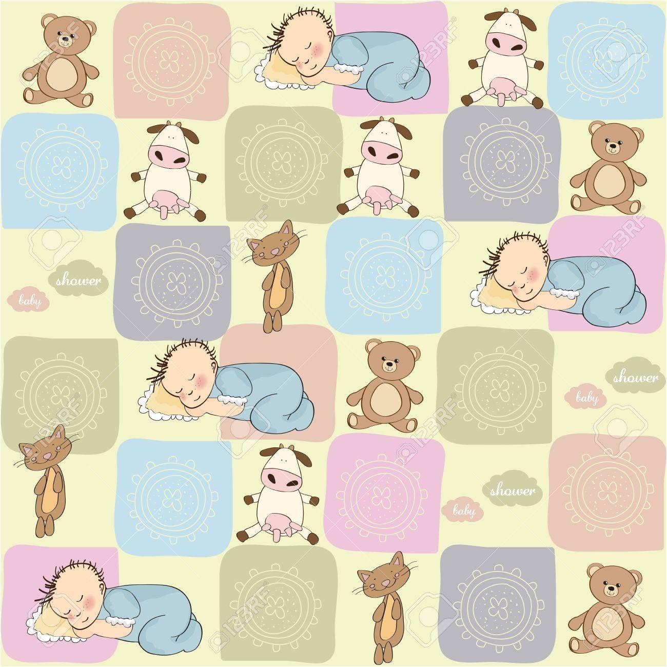 Patrón Sin Costura Infantil Con Juguetes Ilustraciones Vectoriales ...