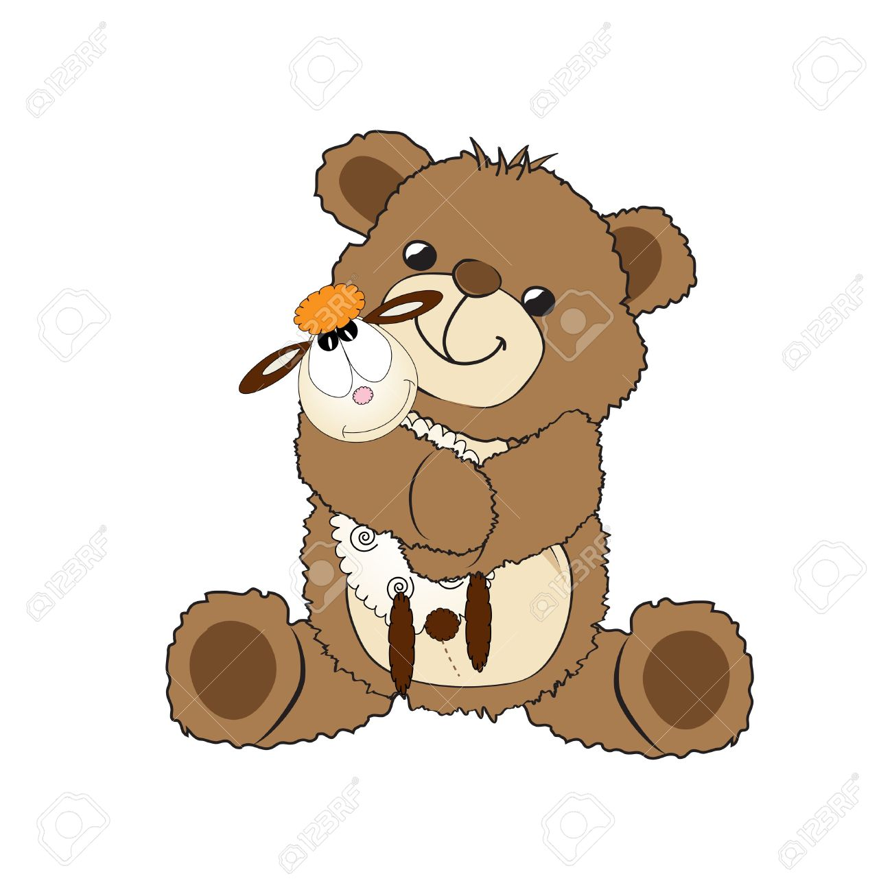 teddy bear playing with his toy, a little sheep,  illustration Stock Vector - 18001650