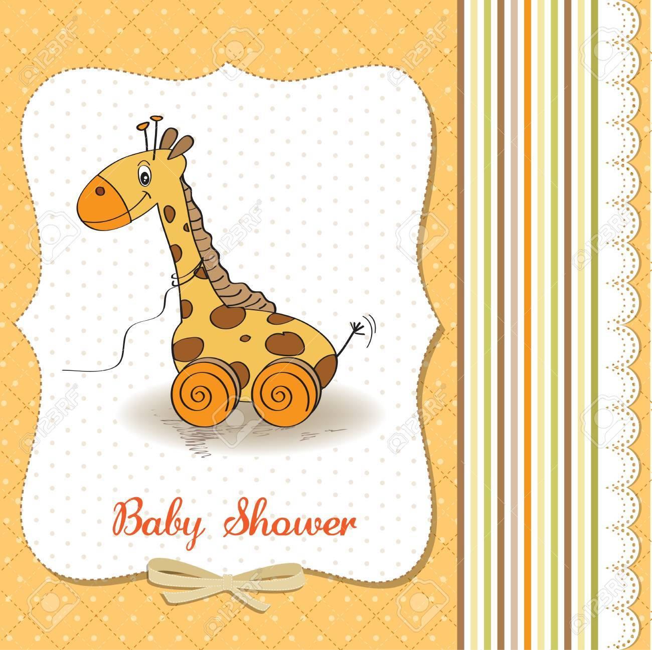 Baby shower card with cute giraffe toy, vector illustration Stock Vector - 18117766