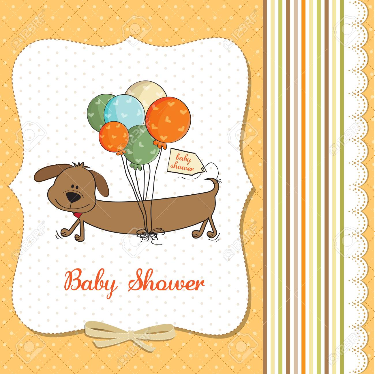 baby shower card with long dog and balloons Stock Vector - 18117911