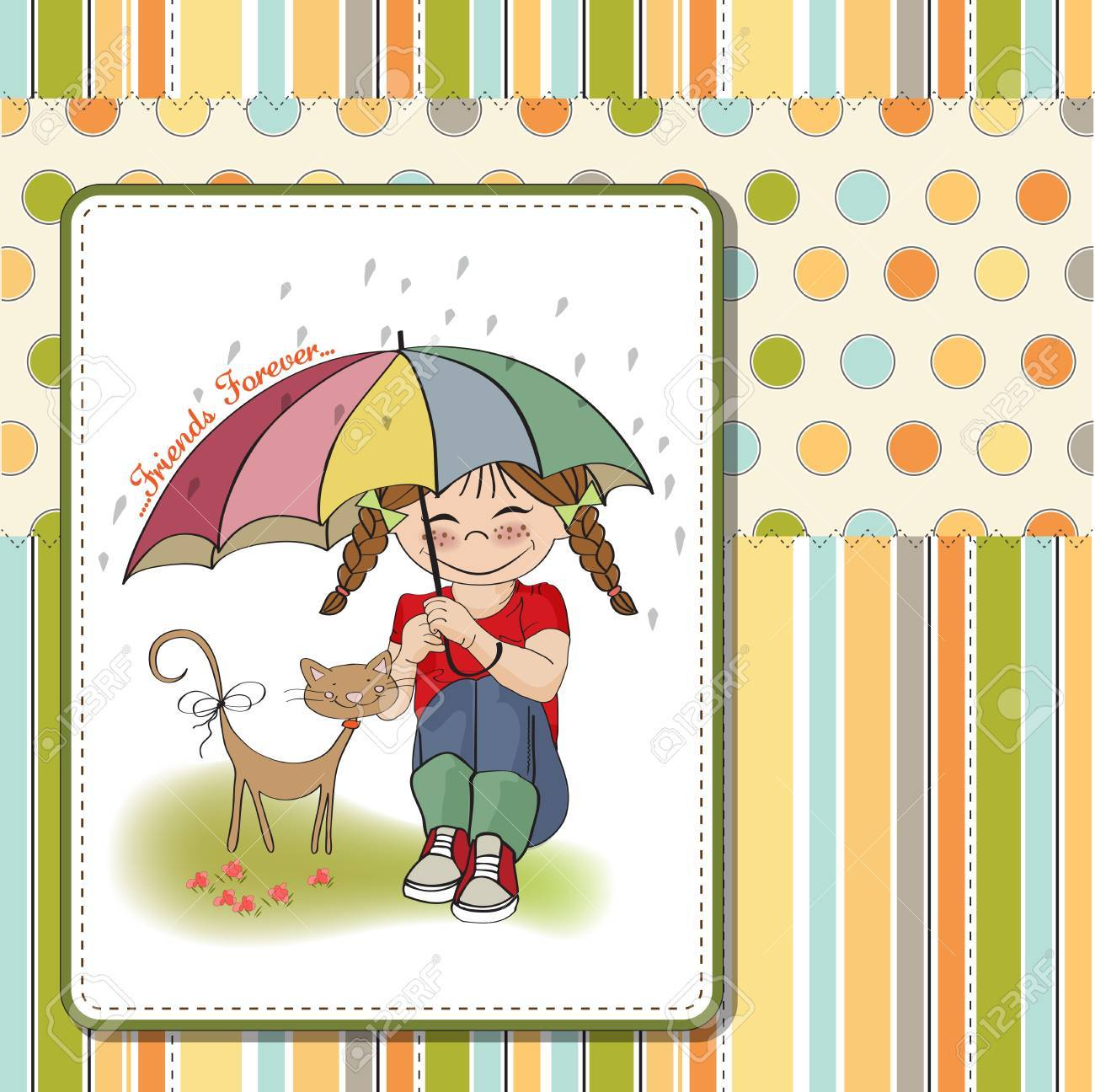 young pretty girl and her cat, friendship card in vector format Stock Vector - 18309546