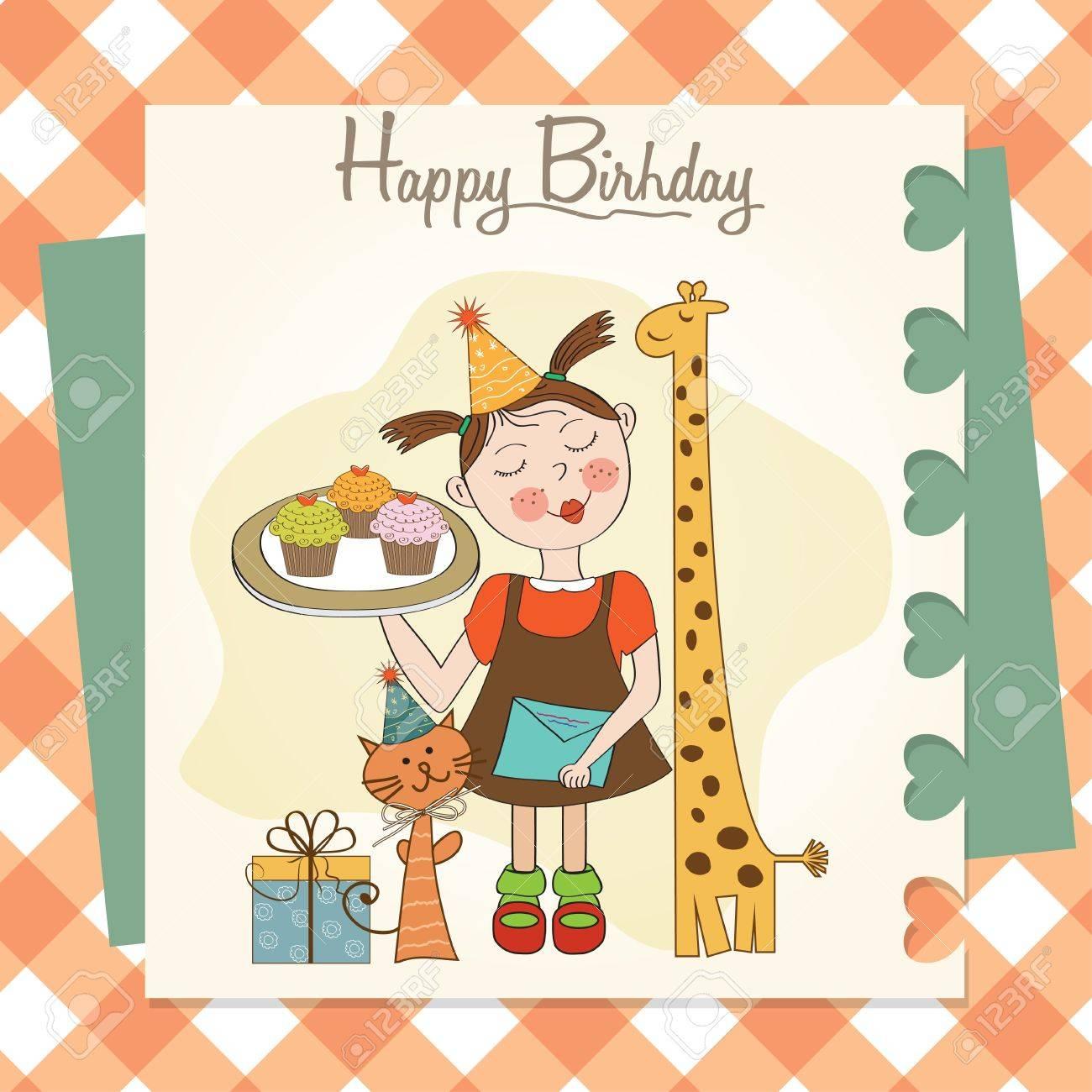 おかしい女の子動物とカップケーキ、イラストと誕生日カード