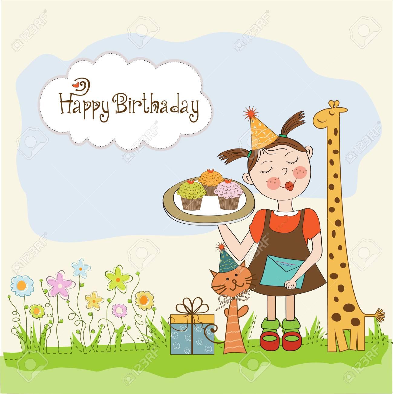 おかしい女の子、動物、カップケーキ、イラストと誕生日カード