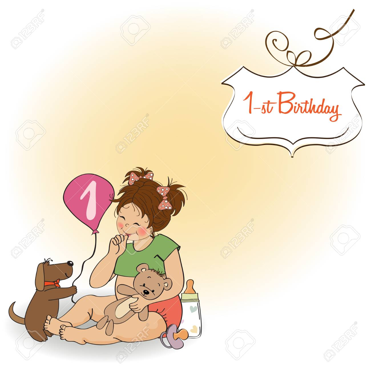 little girl at her first birthday, vector illustration Stock Vector - 18401100