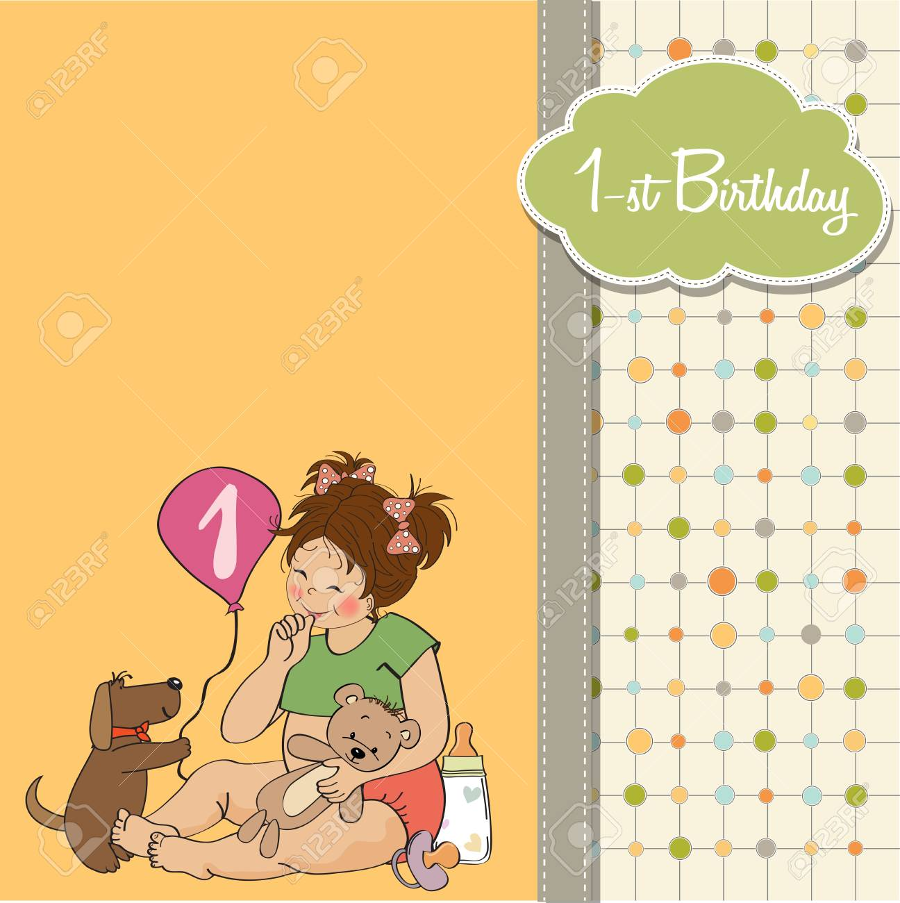 little girl at her first birthday, vector illustration Stock Vector - 18401093
