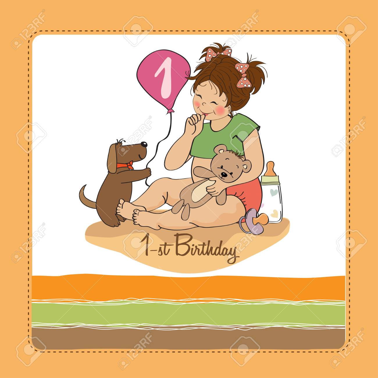little girl at her first birthday, vector illustration Stock Vector - 18401091