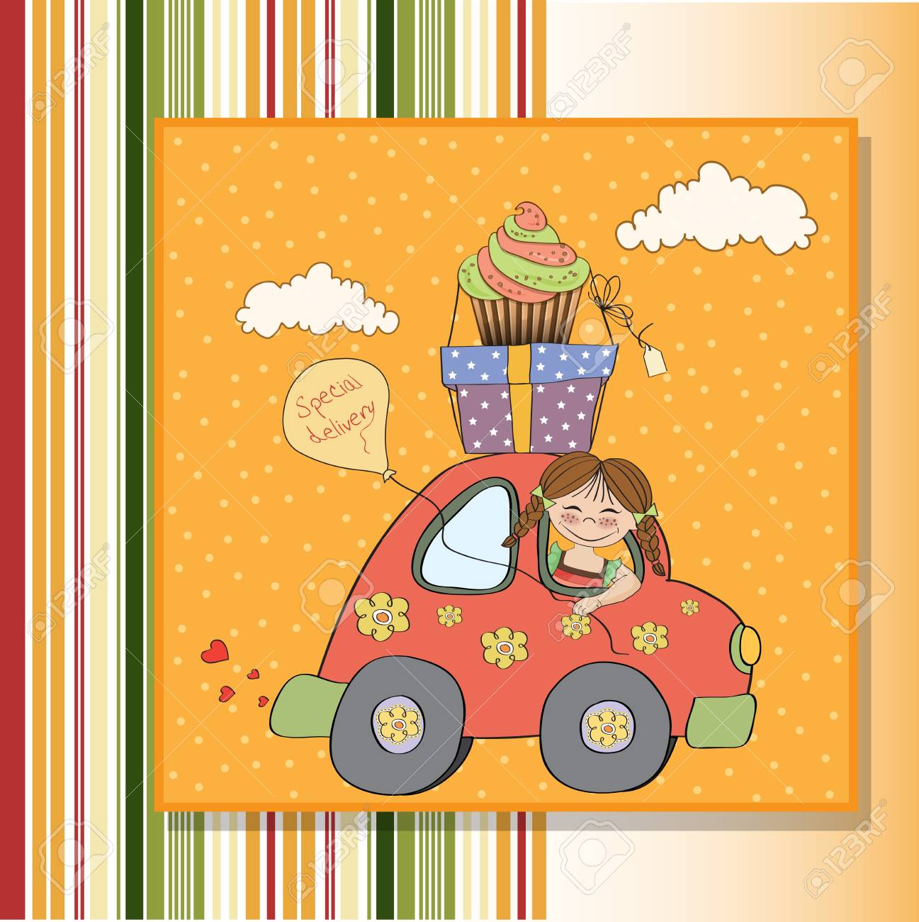 birthday card with funny little girl in vector format Stock Vector - 18570582