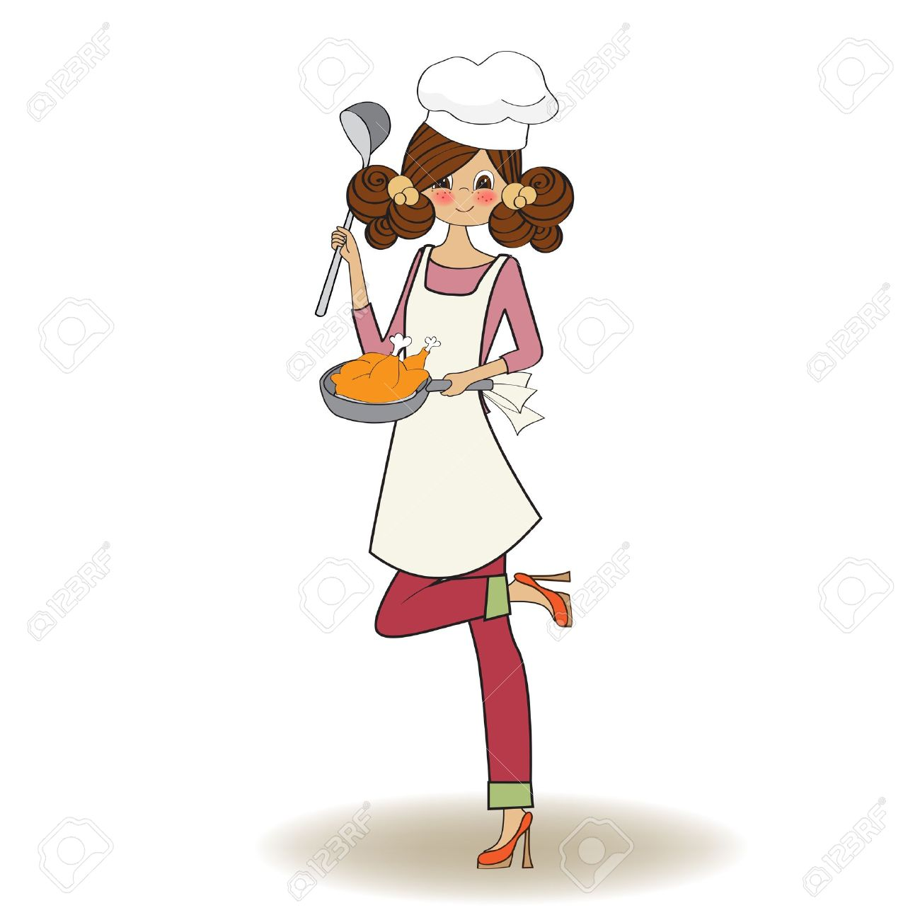 Woman Cooking, Illustration In Vector Royalty Free Cliparts ...