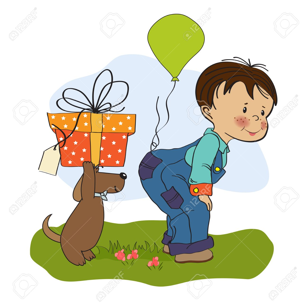 Little Boy And His Dog Birthday Card Stock Vector