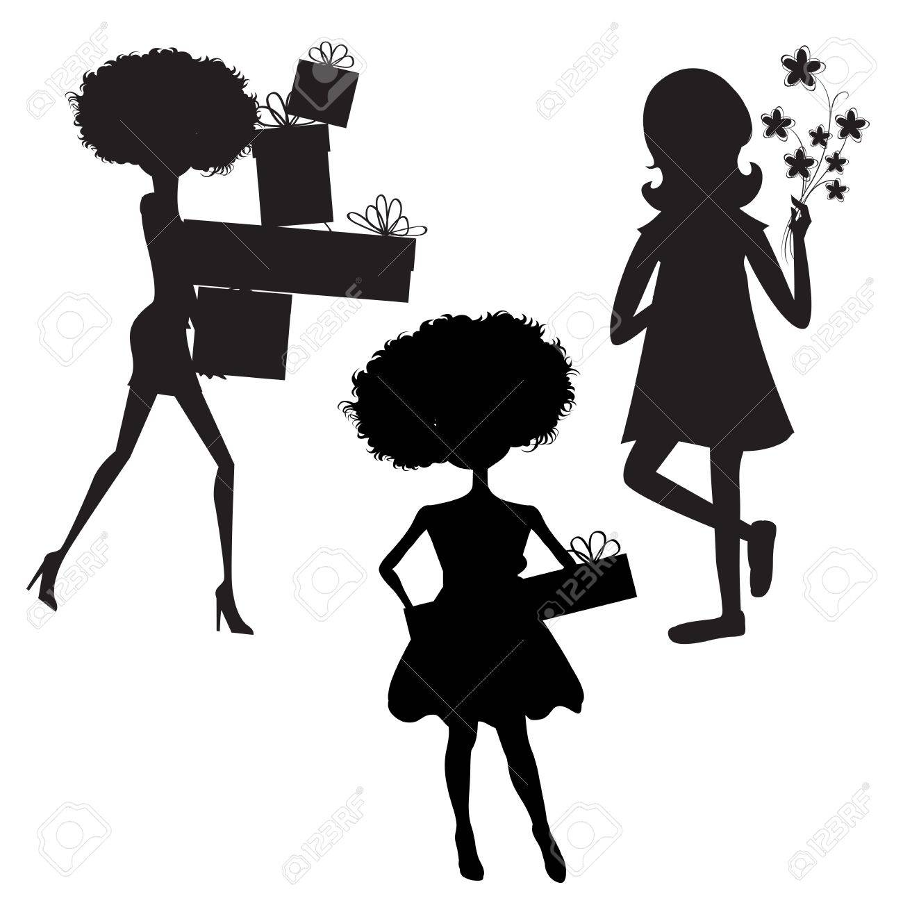 set of three girls silhouettes at birthday party isolated on white background, vector illustration Stock Vector - 20169291