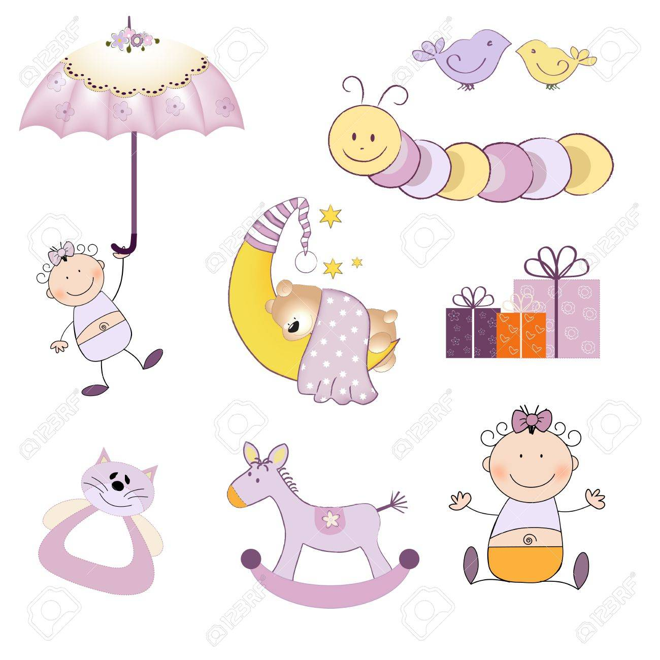 baby girl items set isolated on white background, vector illustration - 20169323