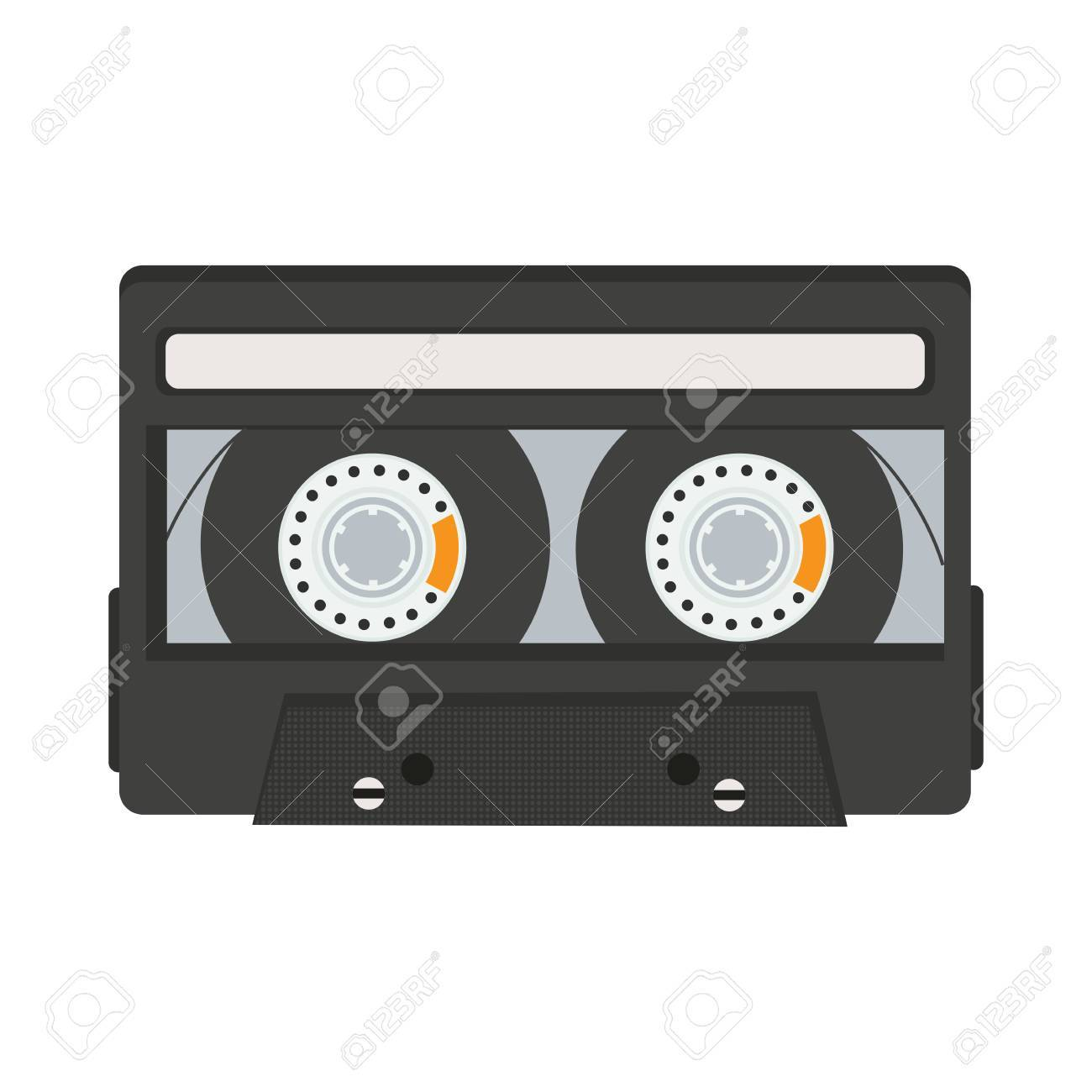 白の背景ベクトル イラストに分離されたカセット テープのイラスト素材