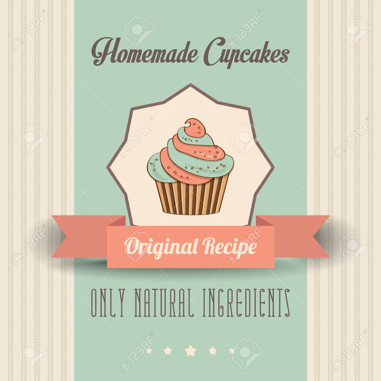 Vintage Homemade Cupcakes Poster, In Vector Format Royalty Free ...