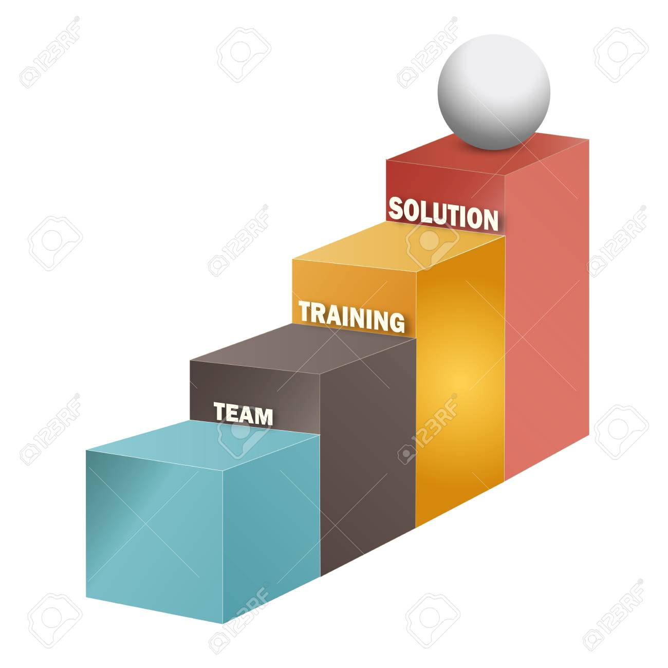 Team, training, solution stairs, 3d on white background Stock Vector - 24988610