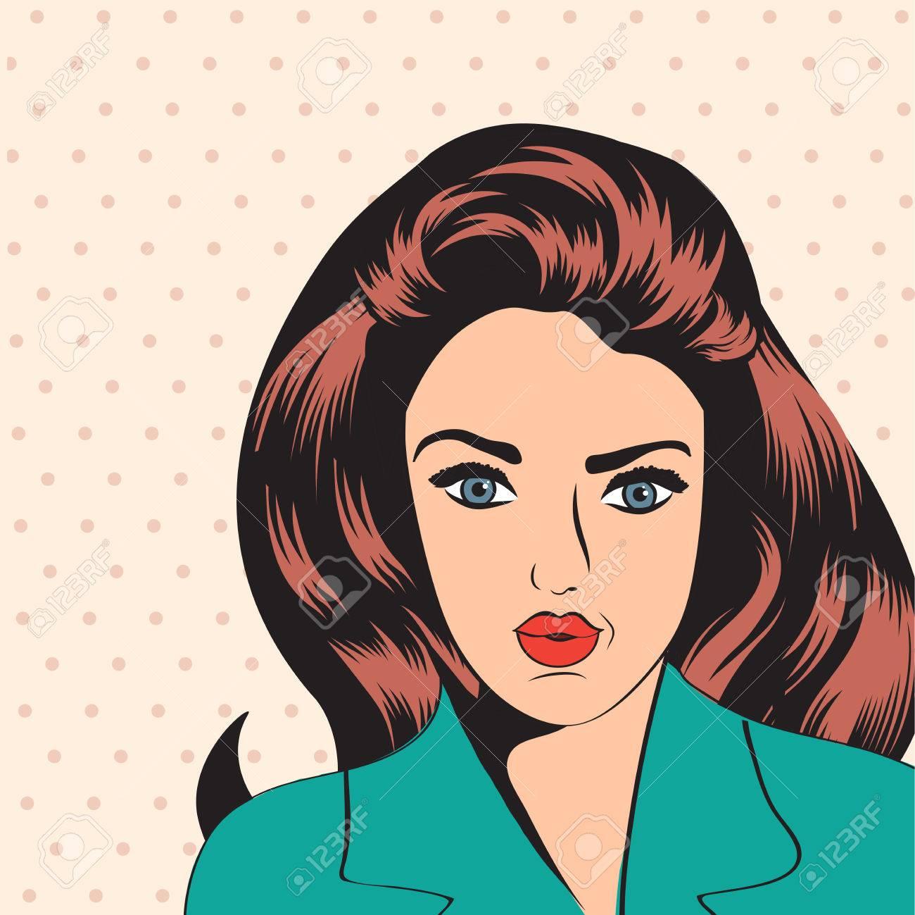 漫画スタイルのイラストでかわいいレトロな女性のイラスト素材ベクタ