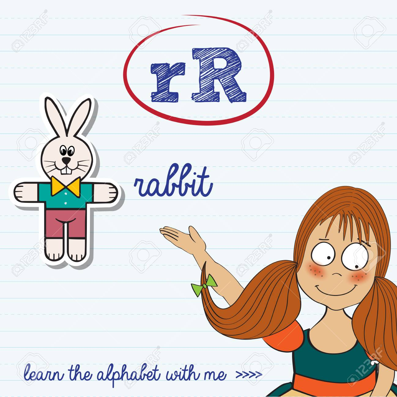 Alphabet Worksheet Of The Letter R, Vector Illustration Royalty Free ...
