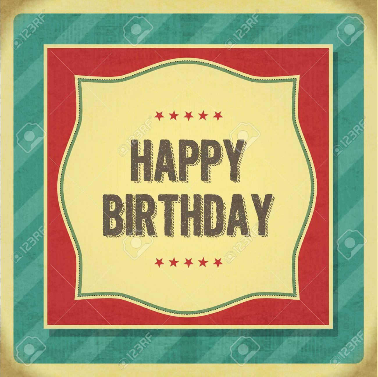 vintage retro happy birthday card. vector illustration. royalty, Birthday card